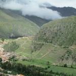 View of Ollantaytambo fortress on the other side of the valley -- archaeologists say it was designed to resemble a llama, its head on the left side
