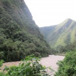View of the Urubamba River.  This section of the valley has no road