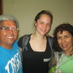 With her host parents, Fernando and Genoveva