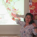 Ms. Menacho shows a map of Peru's socially-excluded populations -- the red areas show the highest concentrations