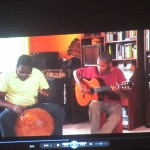 "The musician on the left side of the video is demonstrating the use of a ""checa de calabaza"" (a drum made from a large squash)"