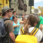 Our Lima coordinator, Celia, introduces the students to downtown Lima