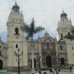 The Catholic Basilica dominates the Plaza de Armas skyline