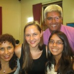 With members of her host family:  Genoveva (left), Fernando and Vania