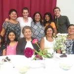 With her host mother Nancy (top left), sisters Lucia and Eva (bottom left) and members of the extended family