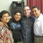 With host mother Cecilia, brother Richie and father Eduardo
