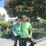 Kolton in the Park with his host brother, Javier