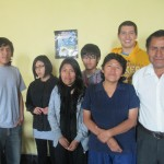 With his host family (from left): Caleb, Karen, Mabel, Diego, Gisela and Romulo