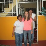 With her host grandmother, Ercilia (left), and mother, Luz