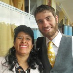 With the school's English teacher, Rosalia