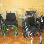 Surplus wheelchairs stored in the church downstairs
