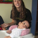 Cortney with one of several special needs children