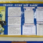 A bulletin board announcing upcoming events and programs