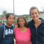 With Yosalin (left), one of the teaching assistants,  and Rosario, the school's new director