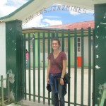 At the front gate of Jardin y Nido Los Jazmines (Jasmine Preschool)