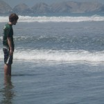 Preparing for a dip in the mighty Pacific -- the water is cold due to the influence of the Humboldt Current