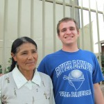 With his host mother, Irene, in Huacarpay