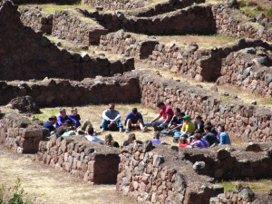 We gather for Goshen Tambo, a time of reflection, inside the remains of a Wari village that dates back to 900 BCE