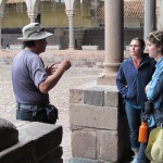 Our guide, Oswaldo, describes how the Spanish built a church and monastery on top of the Koricancha foundation
