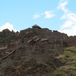 Glimpse from the bus of the Pisac archaeological site above