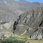 View of the Ollantaytambo archaeological site across the valley