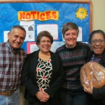 With her host mother Hilda (center), aunt Betty (right) and uncle Moises (left)