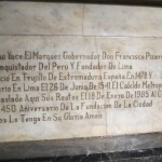 Testament to the Spanish Conquistador who founded Lima in 1535