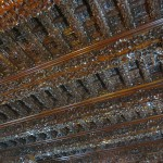 The building where we had lunch features intricate wooden ceilings that date back several centuries