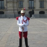 Wearing a ceremonial uniform for the daily Changing of the Guard ceremony