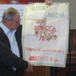 Father Jeff Klaiber lectures on the Catholic Church and Politics in Latin America -- this poster is from the time of the Shining Path, advertising a march for solidarity organized by the local catholic church