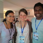 Whitney (center) and Justin (right), seen here with the volunteer coordinator, Elisa, work at the center each day