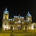 The cathedral on the main plaza at day's end