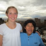 On the roof with her host mother, Gisela