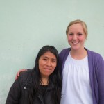 With her host sister, Mabel, who directs the after school program located at the church