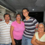 With members of his host family (from left):  father Luis Alberto, mother Rosa and grandma Trinidad