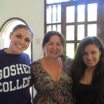 Jenna with members of her host family:  Patricia (center) and Laura (right)