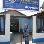 At the gate of the Alliance Church Compassion International project