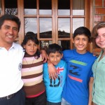 With members of her host family (from left):  Julio, Noemi, Andres and Ivan