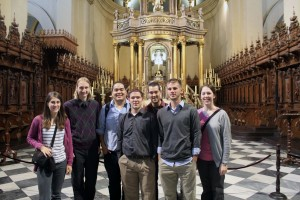 Lauren, Landon, Jacob, Joshua, Rudy, Alan and Becca take in the magnificence of the Cathedral of Lima. Behind them is the main altar, which is flanked by elaborately carved choir stalls.