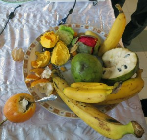 Students sampled tasty fruit from Peru.