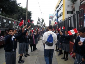 Students received a festive greeting, which was intended for other North American visitors, during their first walk in Lima.
