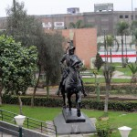 This statue depicting a conquistador said to be Francisco Pizzaro is located in La Muralla Park, a short distance from remnants of 17th century walls of the city.