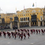 "Dual units of the ""Field Marshal Domingo Nieto"" Calvary Regiment, Guard of the President of the Republic of Perú, converge at the climax of the changing of the guard ceremony"