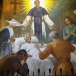 A painting depicting San Martin de Porres, who lived from 1579 to 1639. A lay brother, he lived in the Convent of Santo Domingo and cared for the sick. He was named a saint in 1962.