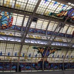 The beautiful stained glass skylight is in the former Desamparados railway station, which now serves as museum dedicated to Peruvian writers.
