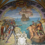 The tomb of Francisco Pizarro in the Cathedral of Lima includes this mural. It depicts an incident during which Pizarro drew a line in the sand and urged his sick and discouraged men to either return to Panama or cross the line and continue the conquest of Peru.