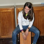 Lauren plays the cajon.