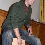 Joshua plays the cajon.