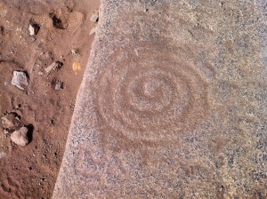 An ancient pattern carved into a stone at Caral.