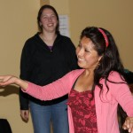 Maria, a local dancer, showed students how to dance to Andean music.